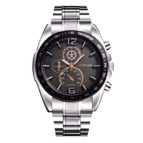 Affordable OUKESHI Alloy Strap Tachymeter Wrist Watch BLACK