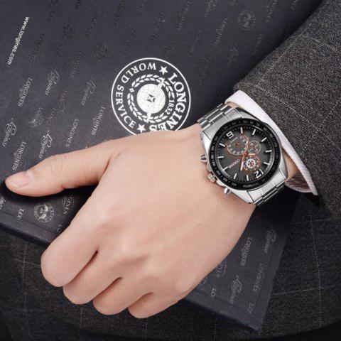 Trendy OUKESHI Alloy Strap Tachymeter Wrist Watch - BLACK  Mobile
