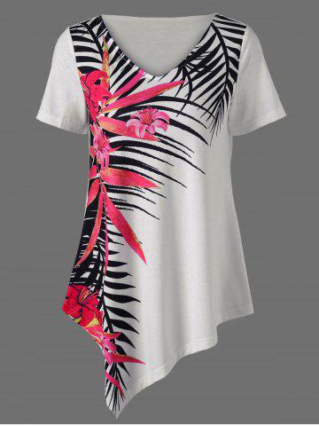 Chic Asymmetrical Tropical Floral Print Casual Hawaiian T-Shirt WHITE XL