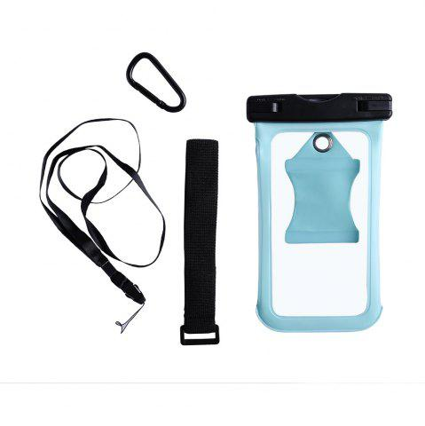 Cheap Waterproof Mobile Phone Case with Arm Band - CYAN  Mobile