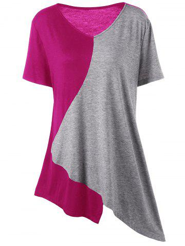 Asymmetrical Color Block Plus Size Long T-Shirt - Gray And Red - 3xl