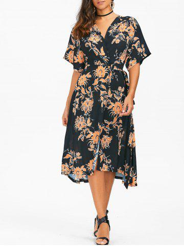 Online Floral Print Chiffon Tea Length Wrap Dress BLACK XL