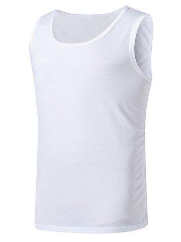 Chic Basic Crew Neck Tank Top WHITE M