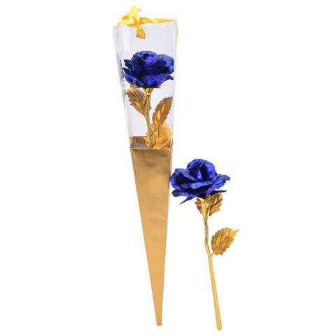 Fashion Valentine's Day Gift Artificial Plated Rose Flower BLUE