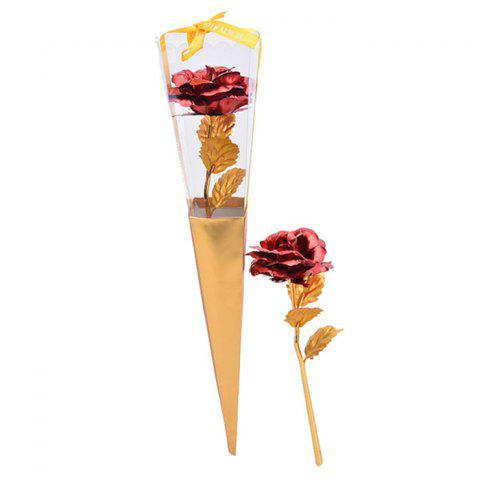 Cheap Valentine's Day Gift Artificial Plated Rose Flower - RED  Mobile