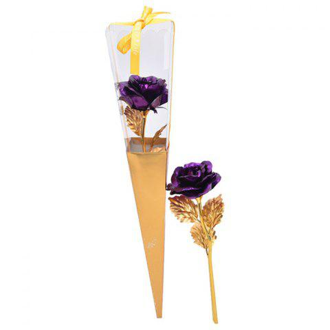 Online Valentine's Day Gift Artificial Plated Rose Flower PURPLE