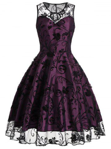 Latest Tulle Floral Tea Length Vintage Party Dress PURPLISH RED XL