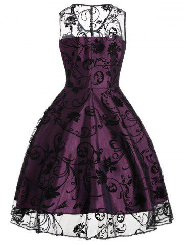 New Tulle Floral Tea Length Vintage Party Dress - 2XL PURPLISH RED Mobile