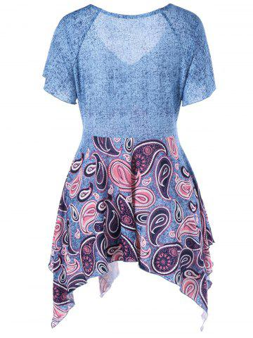 Outfits Empire Waist Paisley Plus Size Asymmetric T-Shirt - 3XL BLUE Mobile