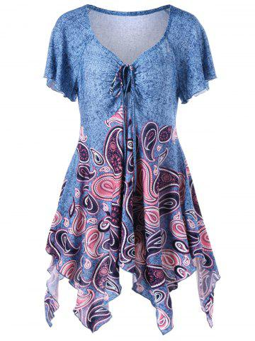 Latest Empire Waist Paisley Plus Size Asymmetric T-Shirt - 3XL BLUE Mobile