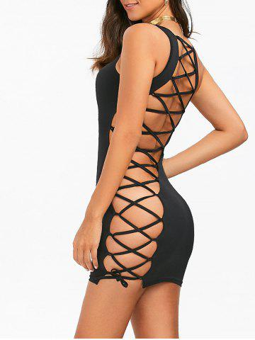Online Open Back Lace-Up Sleeveless Cut Out Bodycon Dress - M BLACK Mobile