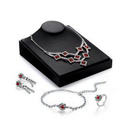 Faux Ruby Flower Geometric Jewelry Set