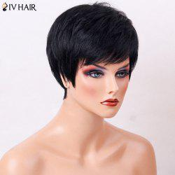 Siv Hair Side Bang Straight Human Hair Short Layered Haircut Wig -