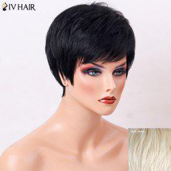 Siv Hair Side Bang Straight Human Hair Short Layered Haircut Wig