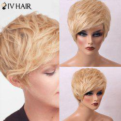 Siv Hair Fluffy Straight Sided Bang Short Human Hair Wig