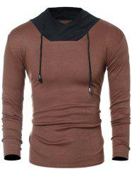 Drawstring Color Block Panel Long Sleeve T-Shirt