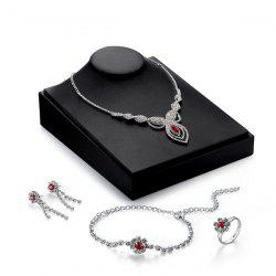 Rhinestone Teardrop Flower Jewelry Set