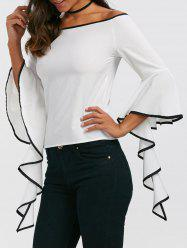 Flare Sleeve Off The Shouder Top - WHITE