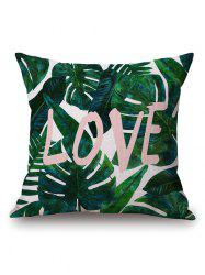 Leaves Letter Print Linen Throw Pillow Case