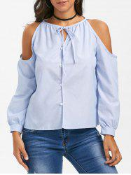 Cold Shoulder Button Up Bowtie Blouse