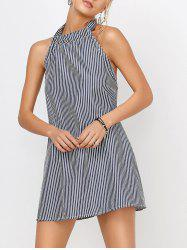 Backless Halter Short Striped Shift Dress - STRIPE