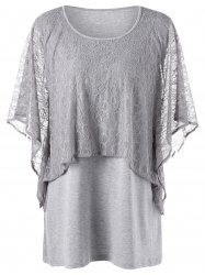 Plus Size Overlay Mesh Panel Dolman Sleeve Tee