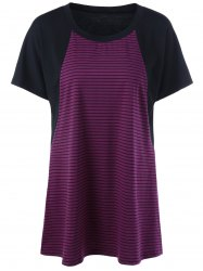 Plus Size Striped Raglan Sleeve T-Shirt