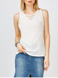 V Neck Lace Up Tank Top