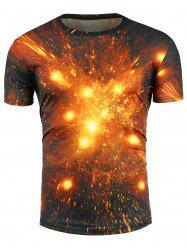 Crew Neck 3D Fire Print Trippy Galaxy T-Shirt