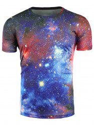 Short Sleeve 3D Color Block Trippy Galaxy T-Shirt