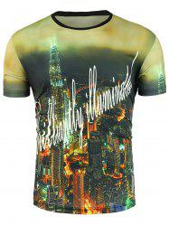 Short Sleeve 3D Night of City Graphic Print T-Shirt