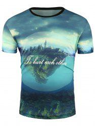 Short Sleeve 3D House and Underwater Print T-Shirt