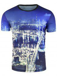 Short Sleeve 3D City Night Print T-Shirt
