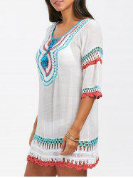 Crochet Insert Openqork Cover Up - WHITE