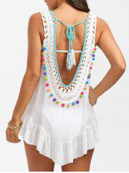 Sleeveless Tassel Crochet Cover Up - WHITE