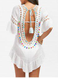 Backless Flounce Crochet Tied Tunic Cover-Up