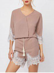Lace Panel Surplice Romper