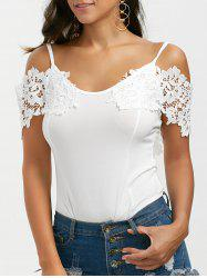 Lace Trim Cold Shoulder Backless Bodysuit - WHITE S