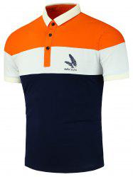 Feather Print Color Block Polo Shirt