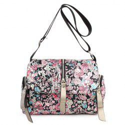 Nylon Floral Print Crossbody Bag