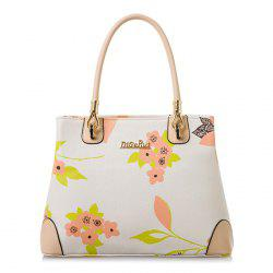 Metal Detail Floral Print Tote Bag