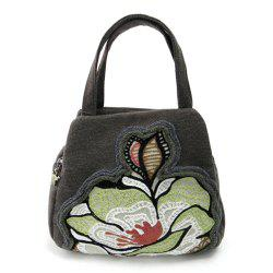 Dual Zips Embroidered Handbag
