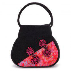 Chinese Button Canvas Jacquard Handbag