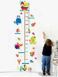 Cartoon Cat Fishing Height Animal Wall Sticker