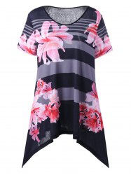 Plus Size Floral Asymmetric T-Shirt