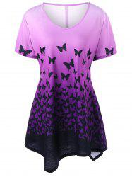 Butterfly Ombre Plus Size Asymmetric T-Shirt