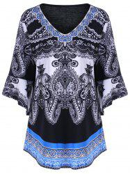Plus Size Paisley Bell Sleeve Tee