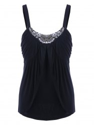 Rhinestone Decorated Empire Waist Tank Top - BLACK