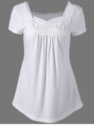 Sweetheart Neck Crochet Panel Long T-Shirt - WHITE