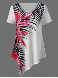 Asymmetrical Tropical Floral Print Casual Hawaiian T-Shirt - WHITE